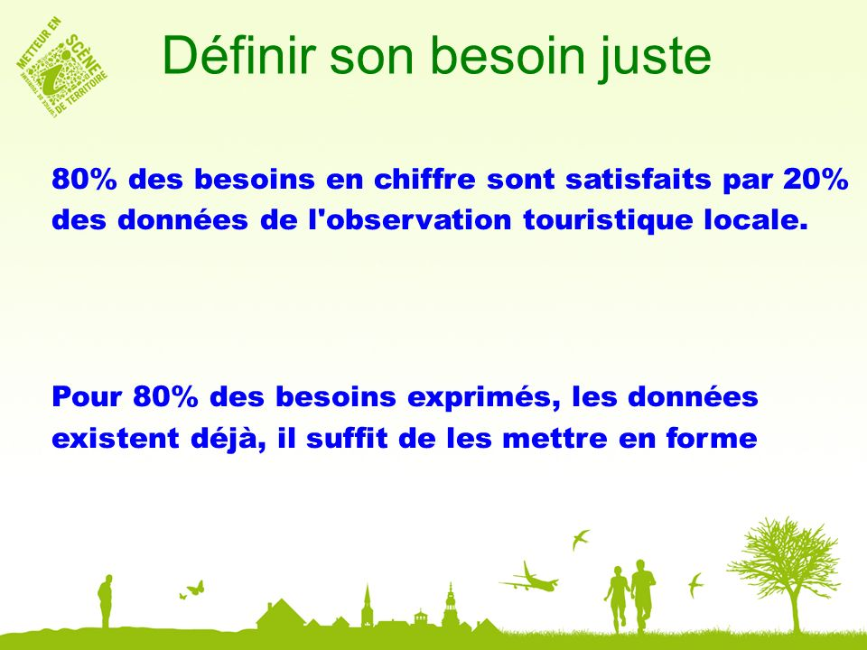 Définir son besoin juste 80% des besoins en chiffre sont satisfaits par 20% des données de l observation touristique locale.