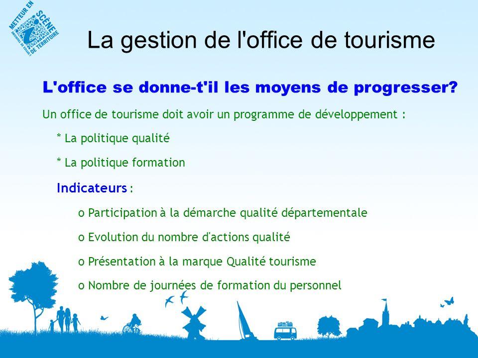 La gestion de l office de tourisme L office se donne-t il les moyens de progresser.