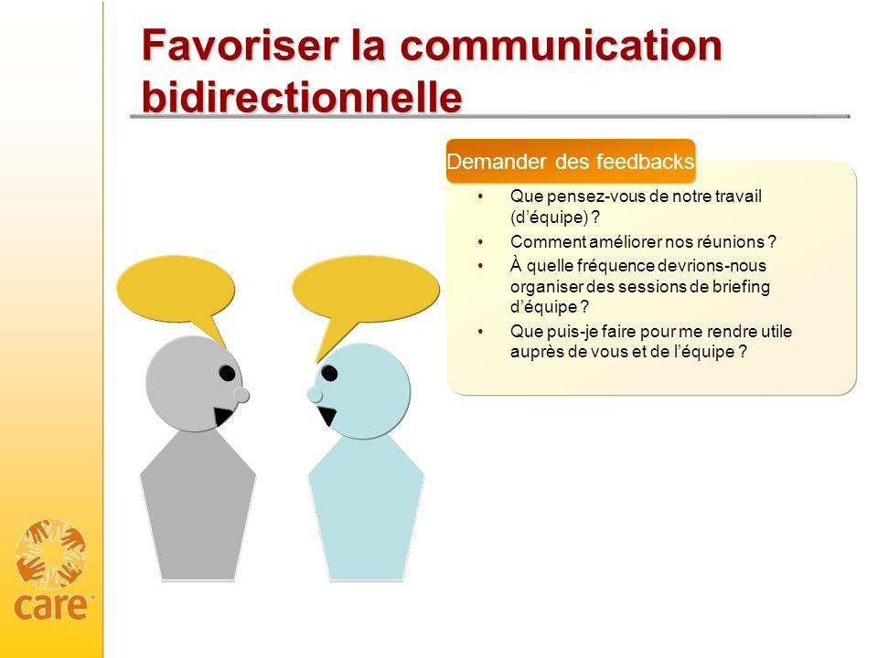 Favoriser la communication bidirectionnelle Que pensez-vous de notre travail (déquipe) ? Comment améliorer nos réunions ? À quelle fréquence devrions-