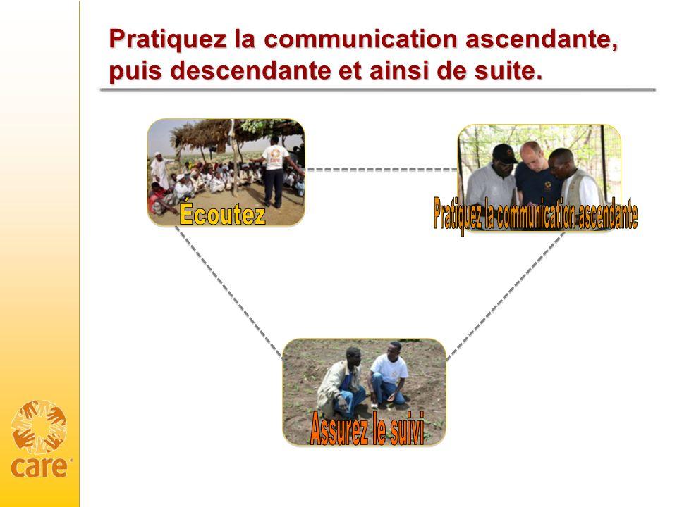 Pratiquez la communication ascendante, puis descendante et ainsi de suite.