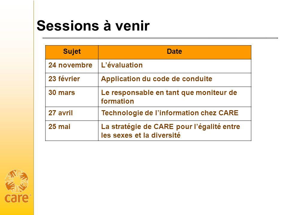 Sessions à venir SujetDate 24 novembreLévaluation 23 févrierApplication du code de conduite 30 marsLe responsable en tant que moniteur de formation 27