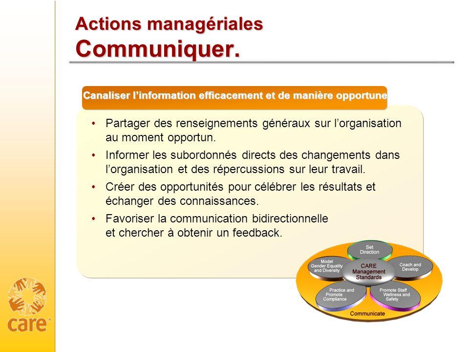 Actions managériales Communiquer. Canaliser linformation efficacement et de manière opportune Partager des renseignements généraux sur lorganisation a