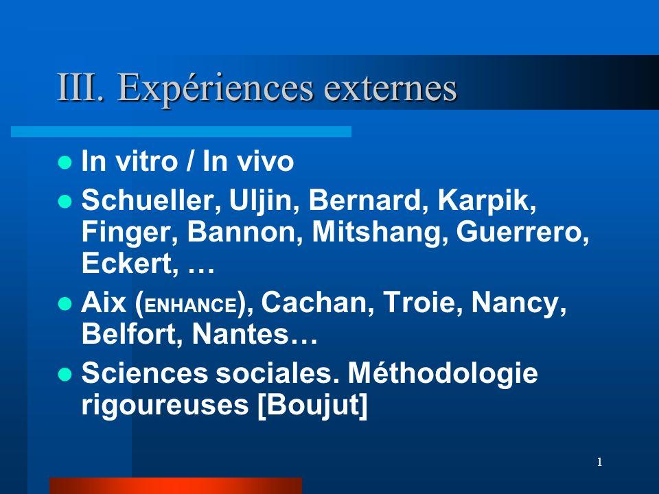1 III. Expériences externes In vitro / In vivo Schueller, Uljin, Bernard, Karpik, Finger, Bannon, Mitshang, Guerrero, Eckert, … Aix ( ENHANCE ), Cacha