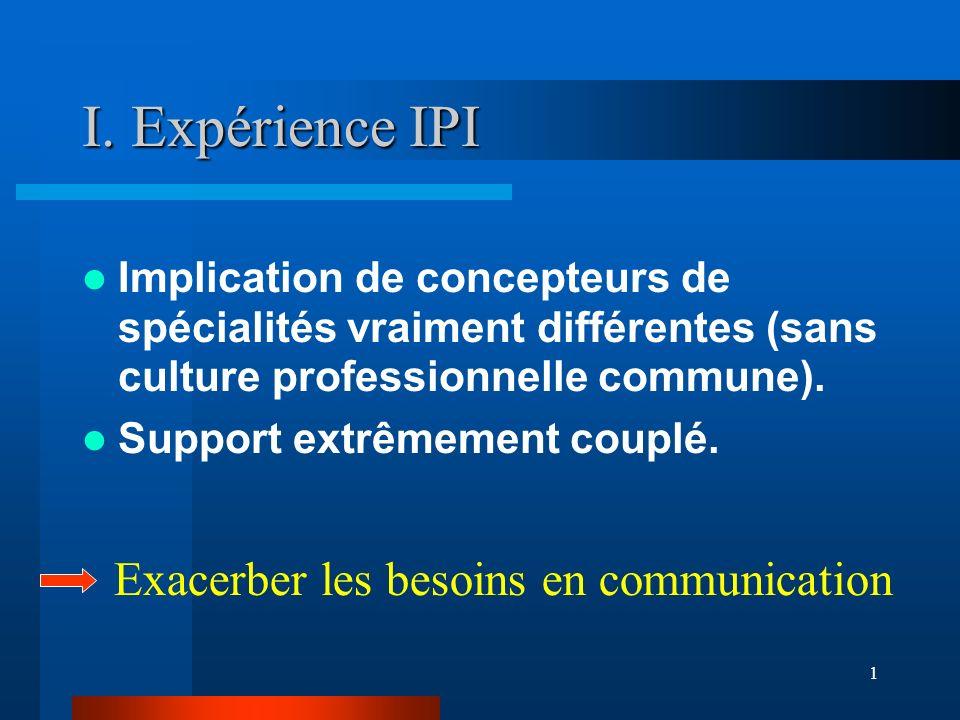 1 I. Expérience IPI Implication de concepteurs de spécialités vraiment différentes (sans culture professionnelle commune). Support extrêmement couplé.