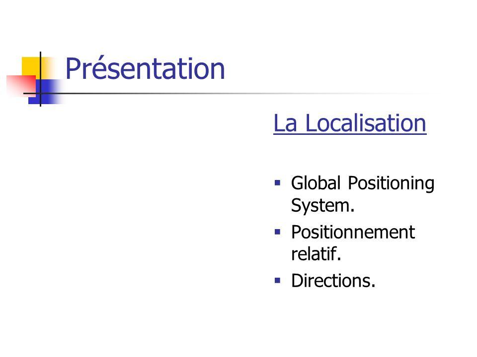 Présentation La Localisation Global Positioning System. Positionnement relatif. Directions.