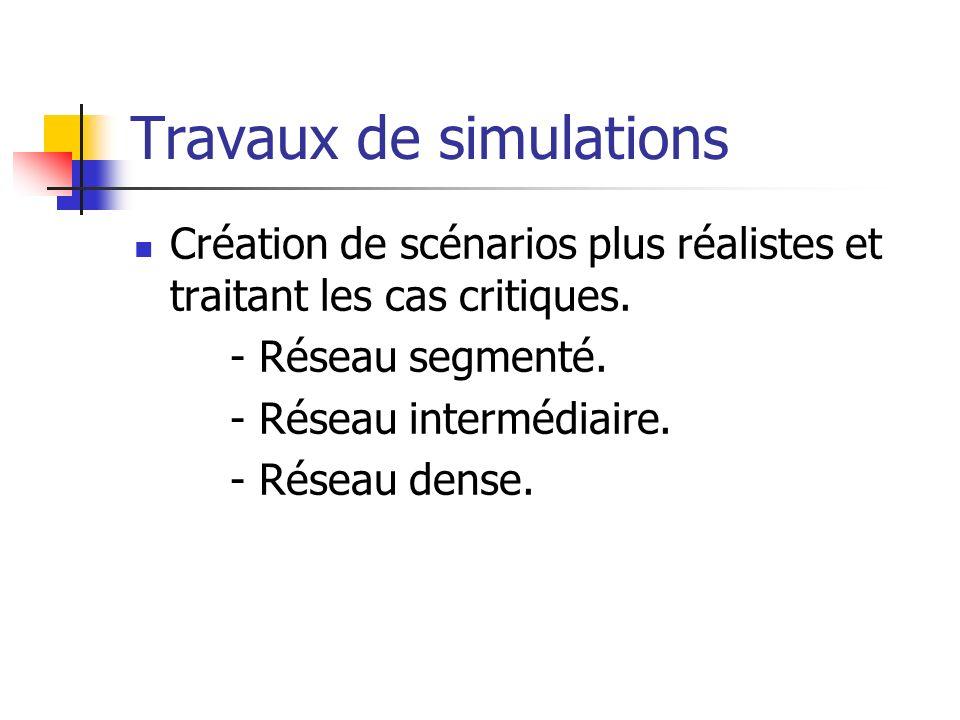 Travaux de simulations Création de scénarios plus réalistes et traitant les cas critiques.