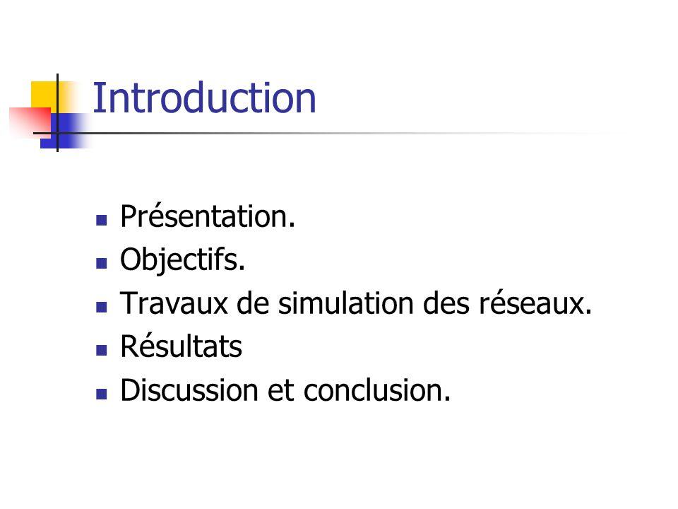 Introduction Présentation. Objectifs. Travaux de simulation des réseaux.