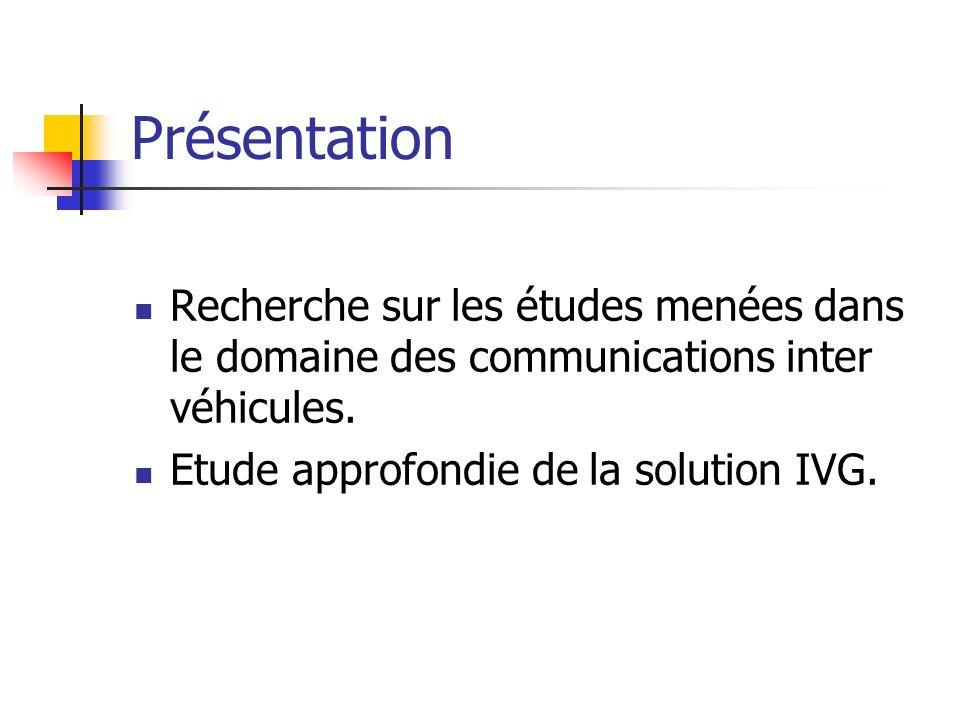 Présentation Recherche sur les études menées dans le domaine des communications inter véhicules.