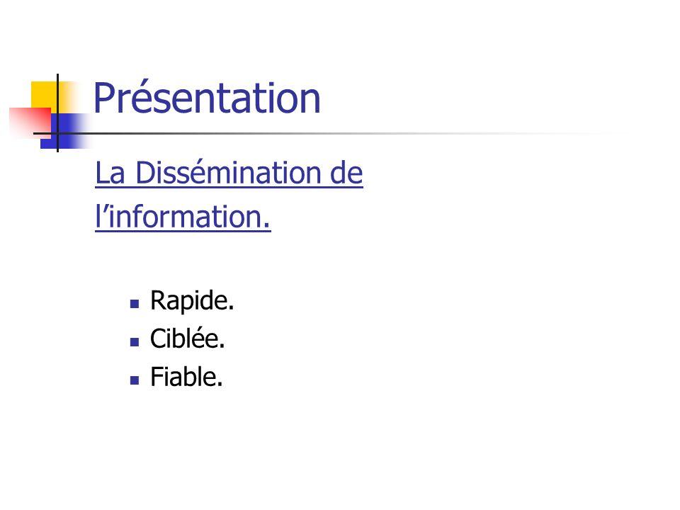 Présentation La Dissémination de linformation. Rapide. Ciblée. Fiable.