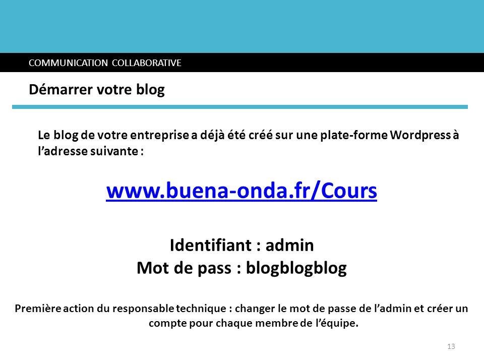 Le blog de votre entreprise a déjà été créé sur une plate-forme Wordpress à ladresse suivante : www.buena-onda.fr/Cours Identifiant : admin Mot de pas