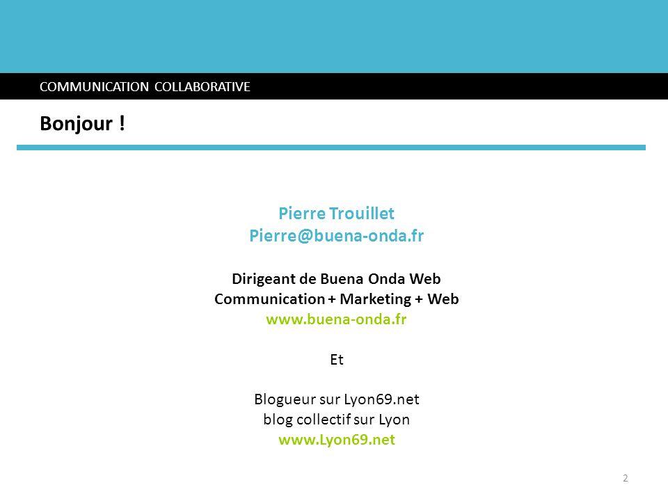 Bonjour ! COMMUNICATION COLLABORATIVE Pierre Trouillet Pierre@buena-onda.fr Dirigeant de Buena Onda Web Communication + Marketing + Web www.buena-onda
