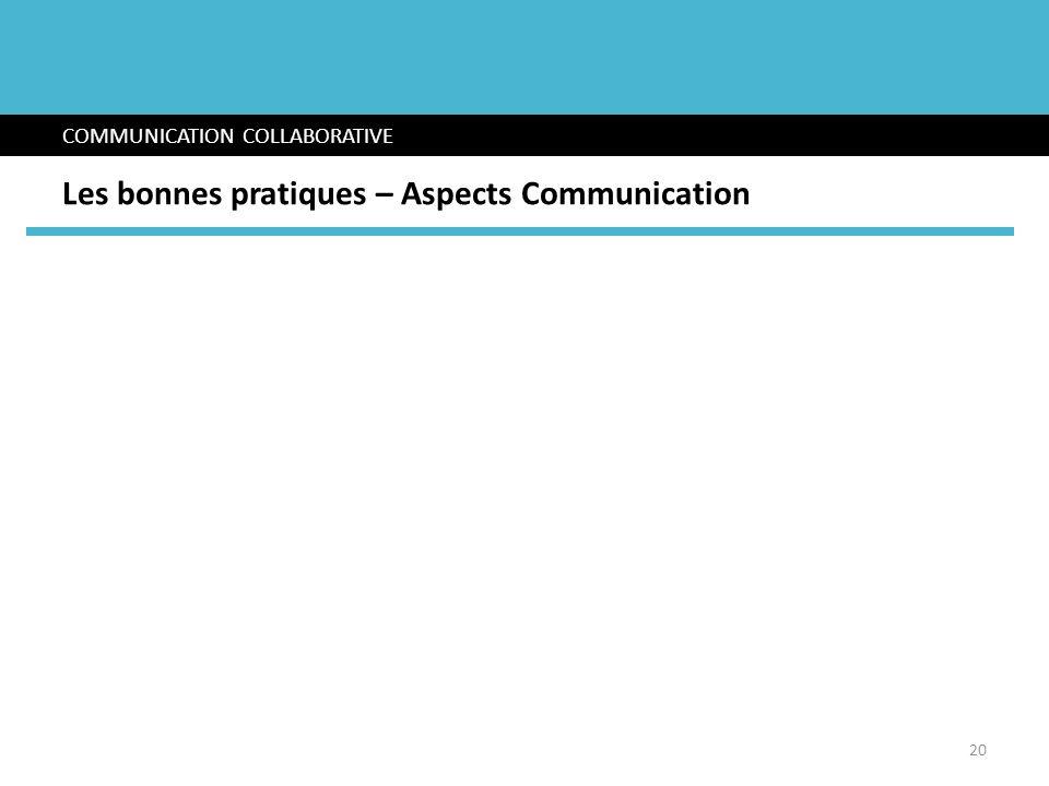 COMMUNICATION COLLABORATIVE Les bonnes pratiques – Aspects Communication 20