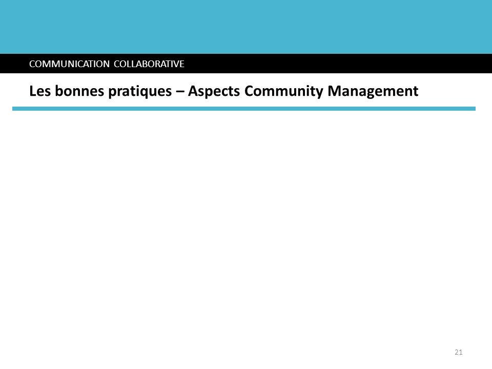 COMMUNICATION COLLABORATIVE Les bonnes pratiques – Aspects Community Management 21