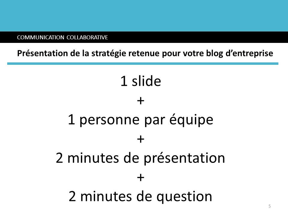 1 slide + 1 personne par équipe + 2 minutes de présentation + 2 minutes de question COMMUNICATION COLLABORATIVE Présentation de la stratégie retenue p