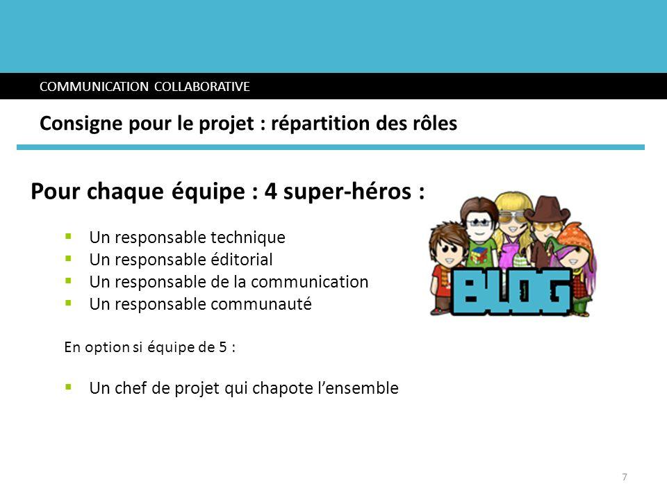 Pour chaque équipe : 4 super-héros : Un responsable technique Un responsable éditorial Un responsable de la communication Un responsable communauté En