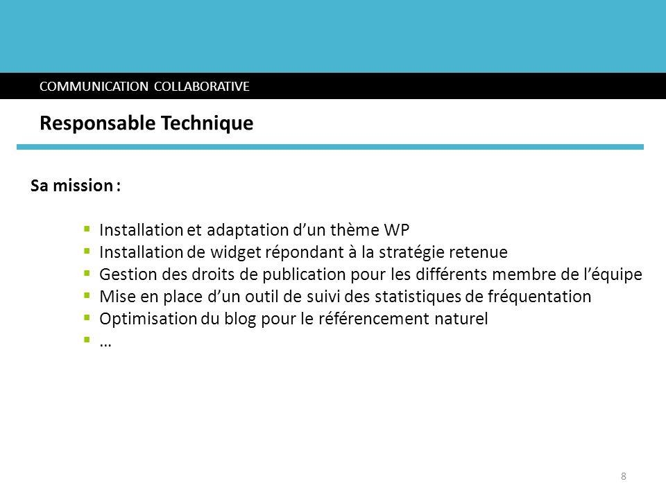 Sa mission : Installation et adaptation dun thème WP Installation de widget répondant à la stratégie retenue Gestion des droits de publication pour le