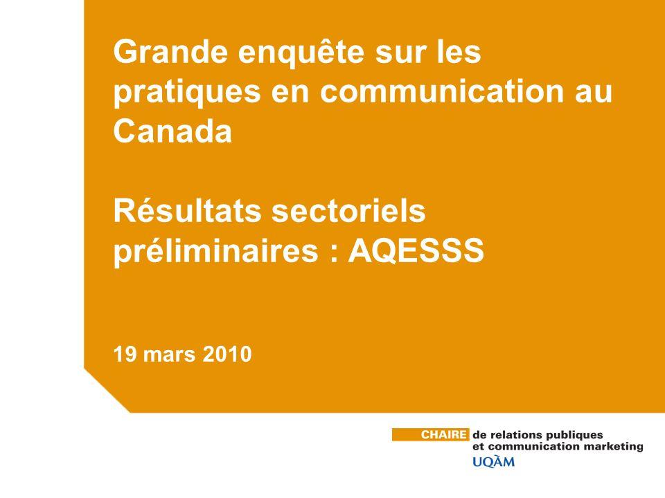 Grande enquête sur les pratiques en communication au Canada Résultats sectoriels préliminaires : AQESSS 19 mars 2010