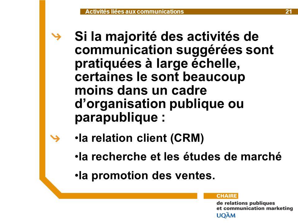 Si la majorité des activités de communication suggérées sont pratiquées à large échelle, certaines le sont beaucoup moins dans un cadre dorganisation publique ou parapublique : la relation client (CRM) la recherche et les études de marché la promotion des ventes.
