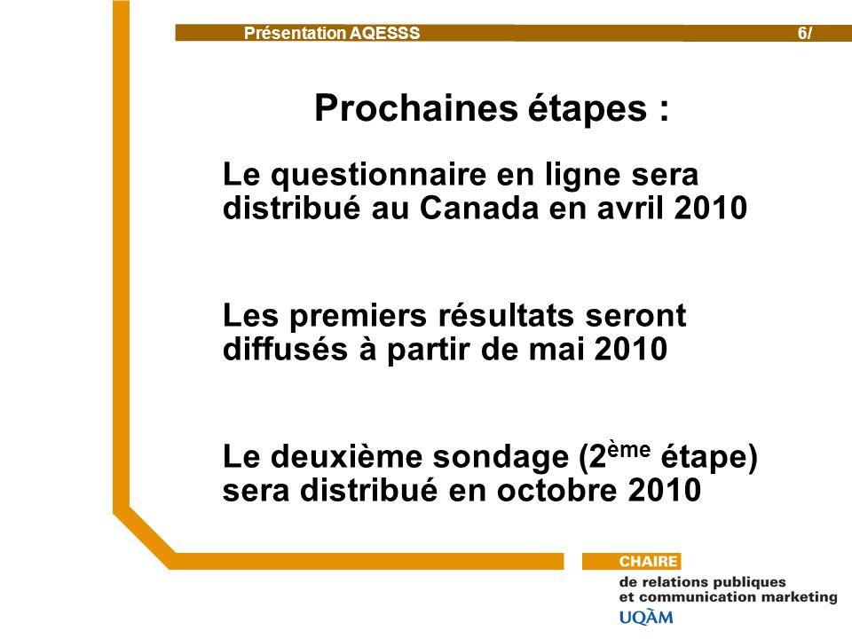 Présentation AQESSS6/ Prochaines étapes : Le questionnaire en ligne sera distribué au Canada en avril 2010 Les premiers résultats seront diffusés à partir de mai 2010 Le deuxième sondage (2 ème étape) sera distribué en octobre 2010
