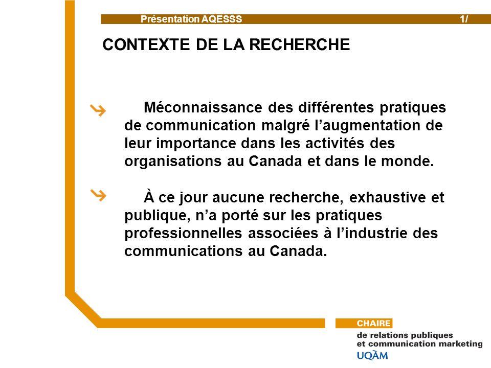 Méconnaissance des différentes pratiques de communication malgré laugmentation de leur importance dans les activités des organisations au Canada et dans le monde.