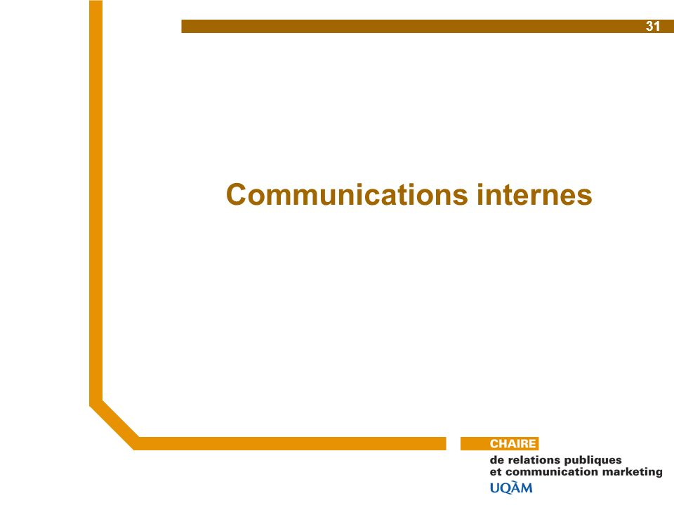 Communications internes 31