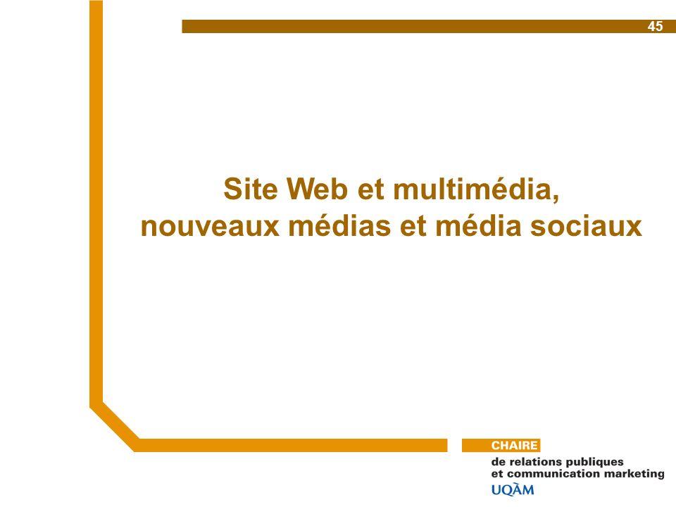 Site Web et multimédia, nouveaux médias et média sociaux 45