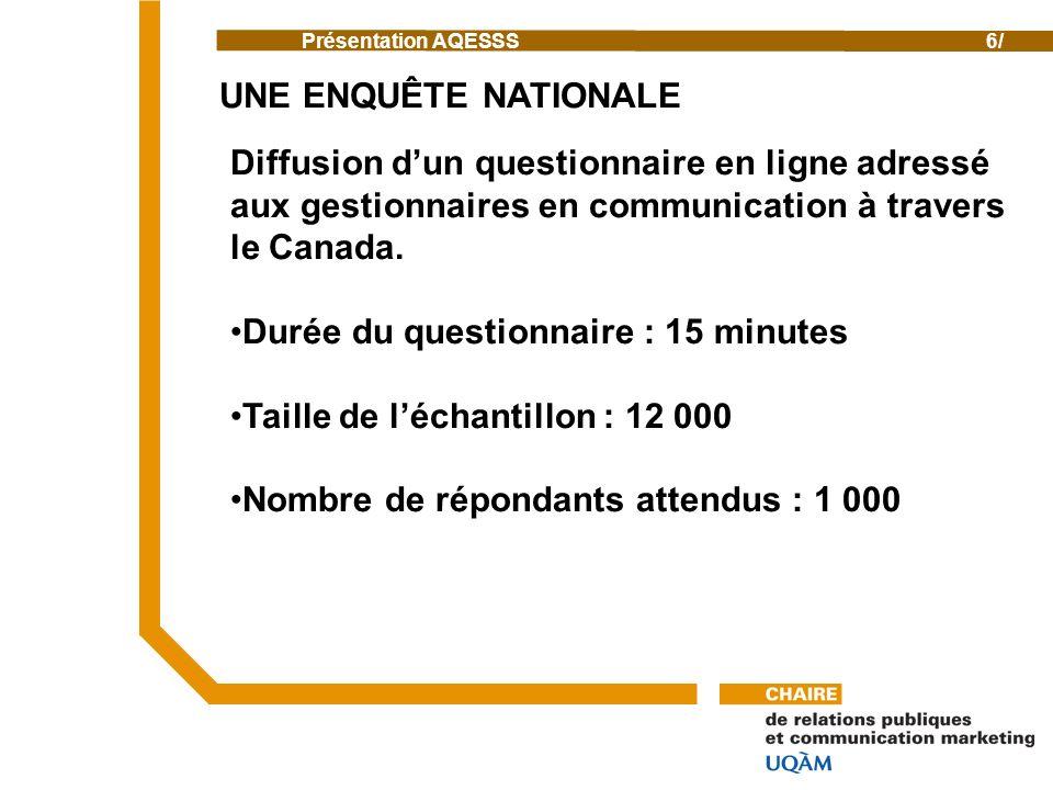 Présentation AQESSS6/ Diffusion dun questionnaire en ligne adressé aux gestionnaires en communication à travers le Canada.