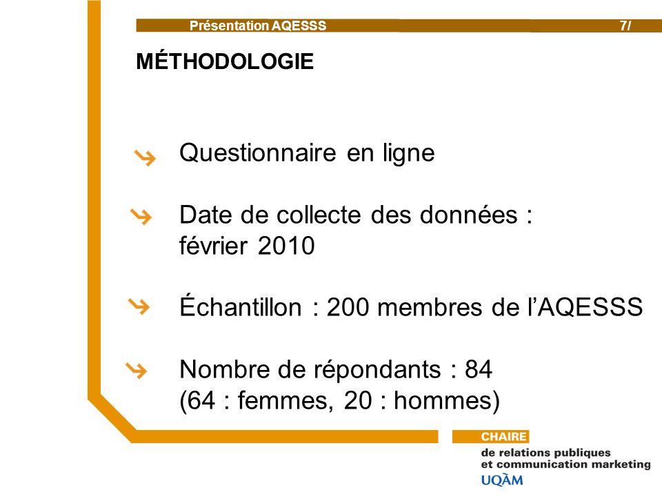 Présentation AQESSS7/ MÉTHODOLOGIE Questionnaire en ligne Date de collecte des données : février 2010 Échantillon : 200 membres de lAQESSS Nombre de répondants : 84 (64 : femmes, 20 : hommes)