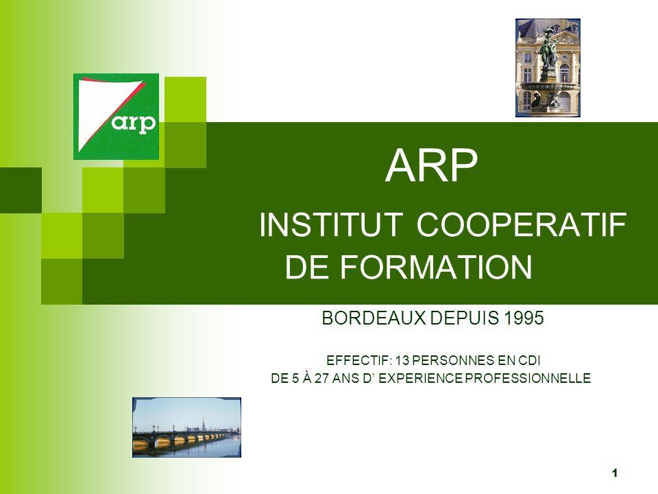 1 ARP INSTITUT COOPERATIF DE FORMATION BORDEAUX DEPUIS 1995 EFFECTIF: 13 PERSONNES EN CDI DE 5 À 27 ANS D EXPERIENCE PROFESSIONNELLE