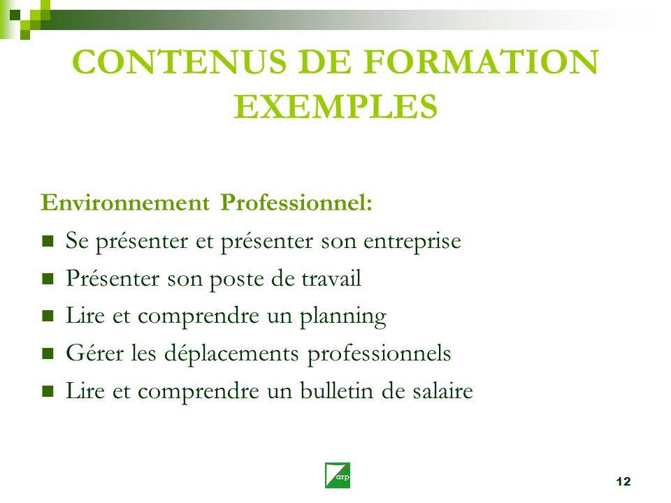 12 CONTENUS DE FORMATION EXEMPLES Environnement Professionnel: Se présenter et présenter son entreprise Présenter son poste de travail Lire et compren