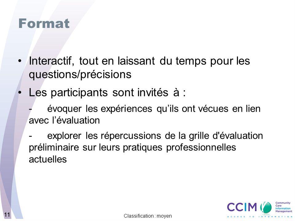 11 Classification : moyen 11 Format Interactif, tout en laissant du temps pour les questions/précisions Les participants sont invités à : -évoquer les