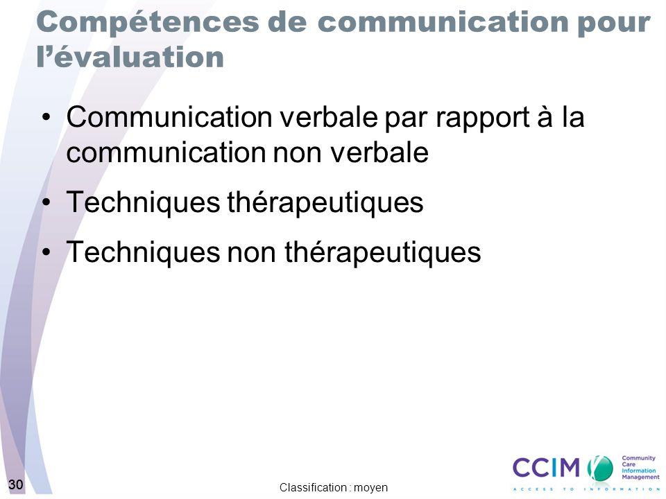 30 Classification : moyen 30 Compétences de communication pour lévaluation Communication verbale par rapport à la communication non verbale Techniques thérapeutiques Techniques non thérapeutiques