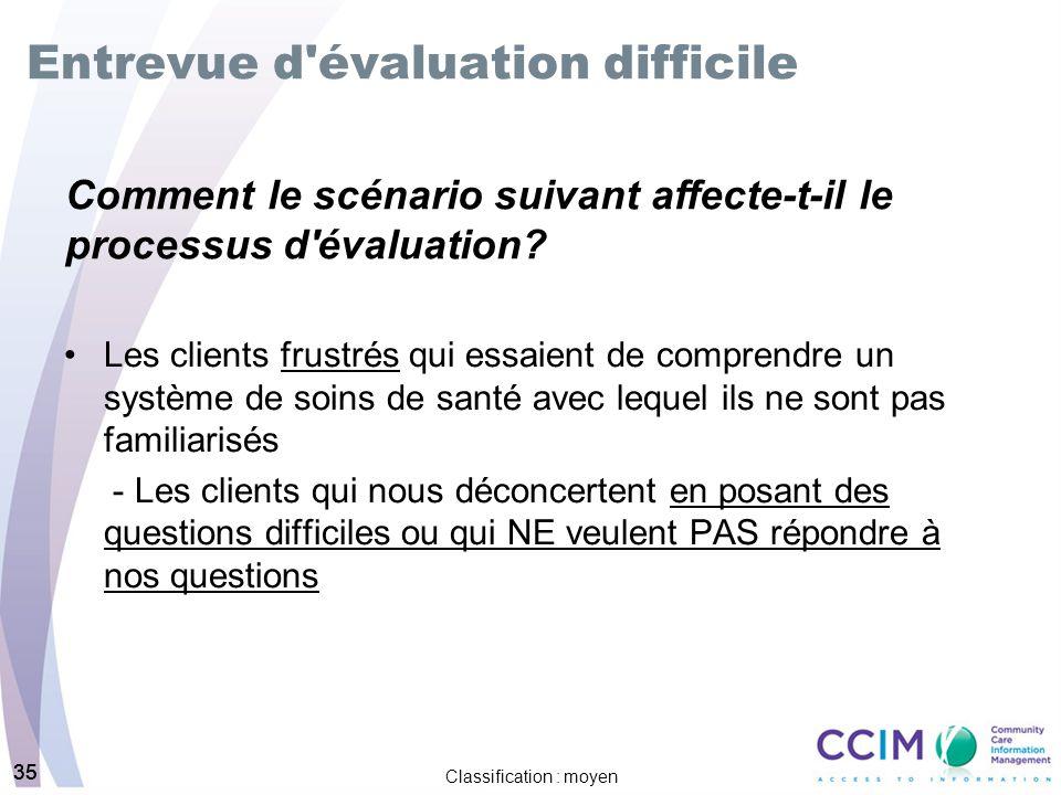 35 Classification : moyen 35 Entrevue d'évaluation difficile Les clients frustrés qui essaient de comprendre un système de soins de santé avec lequel