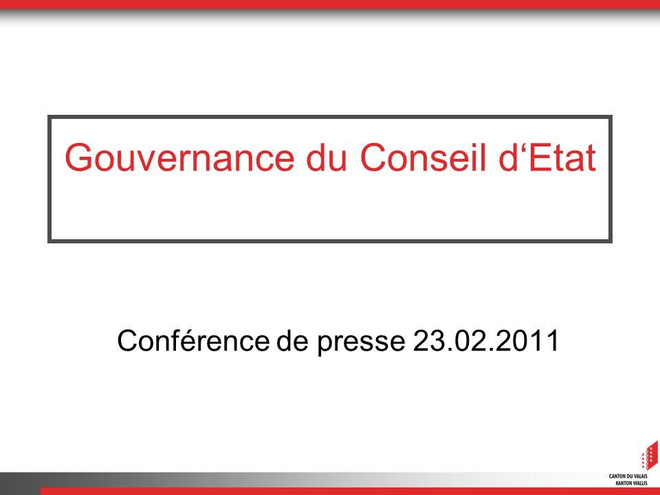 Sion, le 16 février 2011 2 Gouvernance du Conseil dEtat.
