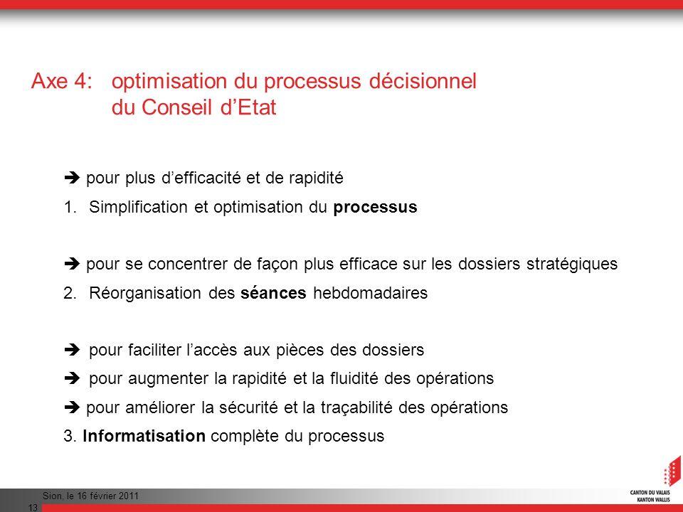 Sion, le 16 février 2011 13 Axe 4: optimisation du processus décisionnel du Conseil dEtat pour plus defficacité et de rapidité 1.Simplification et opt