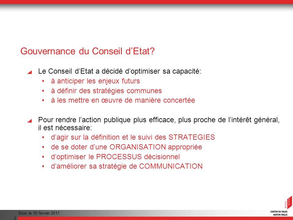 Sion, le 16 février 2011 3 Éléments de la gouvernance StratégieOrganisation ProcessusCommunication 12 34
