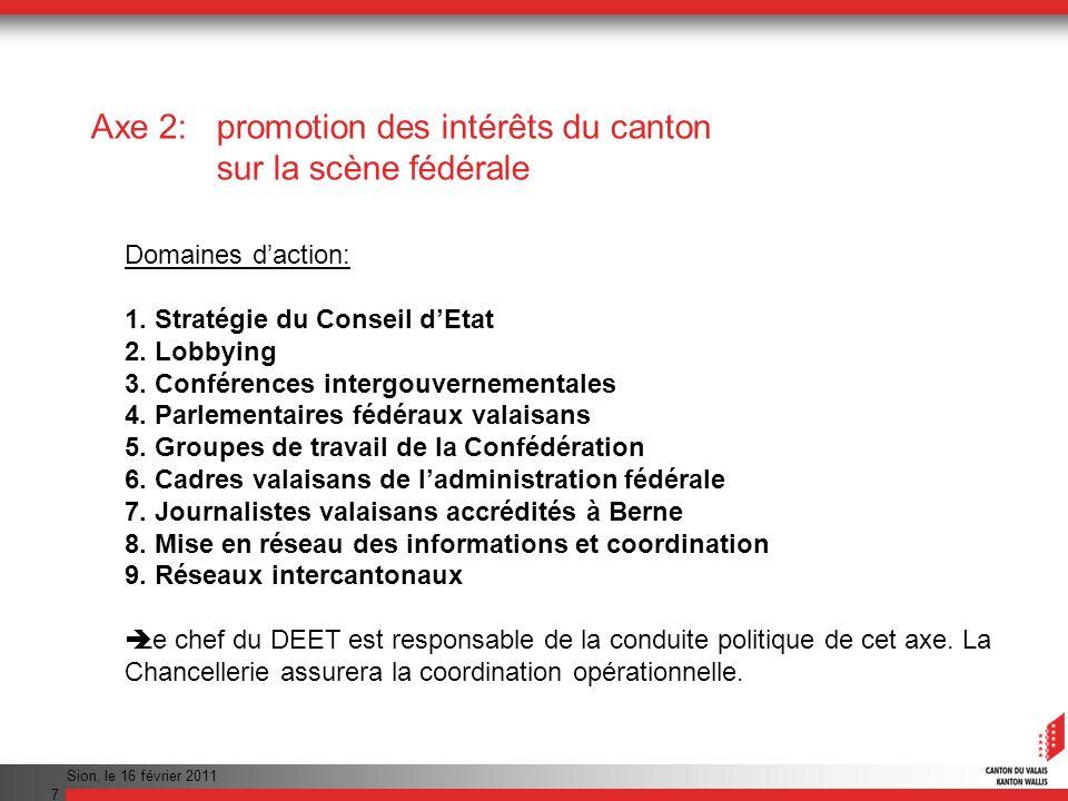 Sion, le 16 février 2011 8 Axe 5: règles de communication et dinformation pour plus defficacité et de cohérence 1.Définition de règles de communication et dinformation dans ladministration.