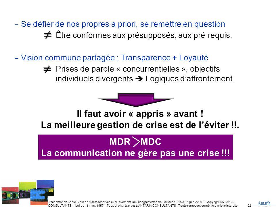 Présentation Annie Clerc de Marco réservée exclusivement aux congressistes de Toulouse - 15 & 16 juin 2009 - Copyright ANTARIA CONSULTANTS – Loi du 11