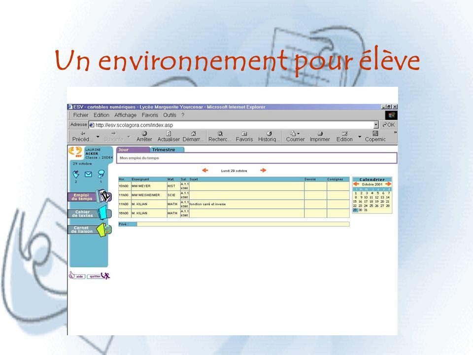 Un environnement pour élève