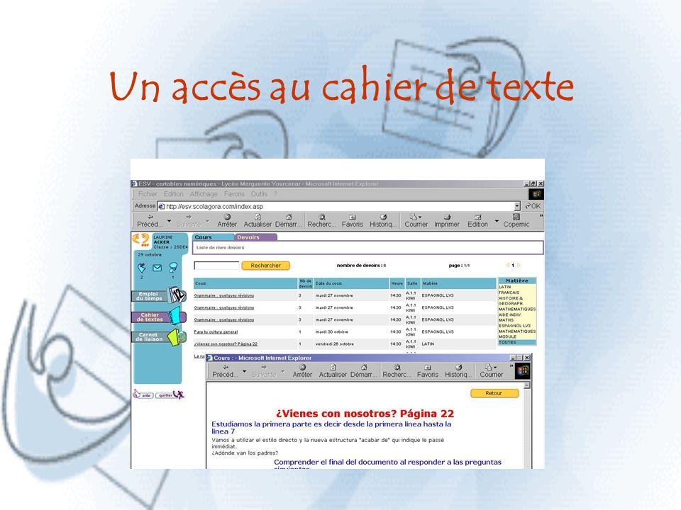 Un accès au cahier de texte