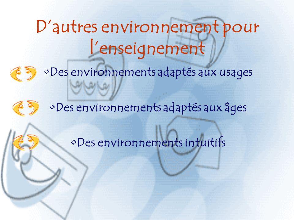 Dautres environnement pour lenseignement Des environnements adaptés aux usages Des environnements adaptés aux âges Des environnements intuitifs