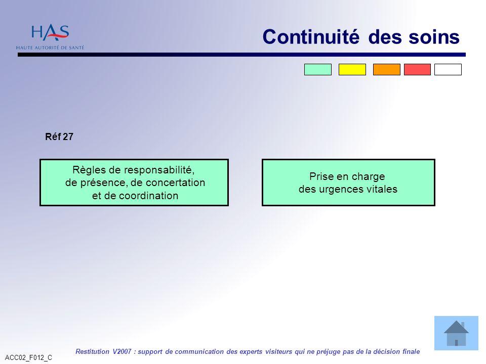 ACC02_F012_C Restitution V2007 : support de communication des experts visiteurs qui ne préjuge pas de la décision finale Règles de responsabilité, de