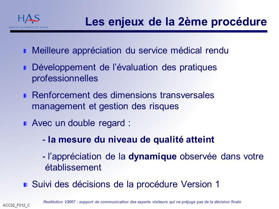 ACC02_F012_C Restitution V2007 : support de communication des experts visiteurs qui ne préjuge pas de la décision finale Les enjeux de la 2ème procédu