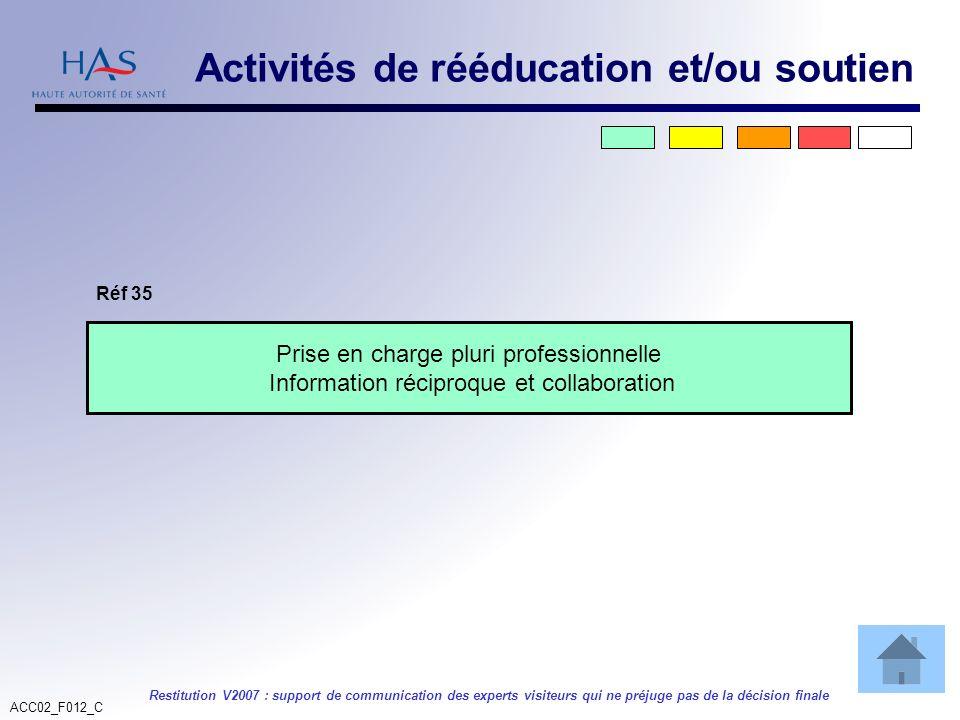 ACC02_F012_C Restitution V2007 : support de communication des experts visiteurs qui ne préjuge pas de la décision finale Prise en charge pluri profess