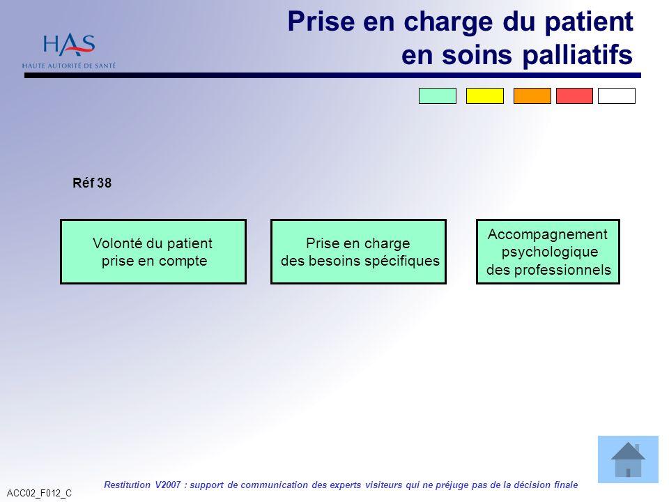 ACC02_F012_C Restitution V2007 : support de communication des experts visiteurs qui ne préjuge pas de la décision finale Volonté du patient prise en c