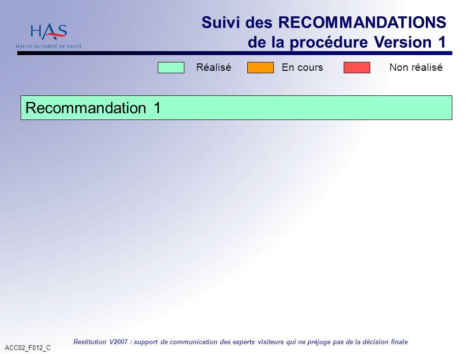 ACC02_F012_C Restitution V2007 : support de communication des experts visiteurs qui ne préjuge pas de la décision finale Suivi des RECOMMANDATIONS de
