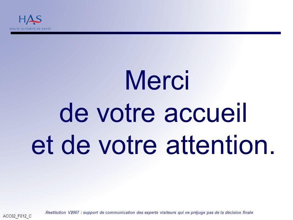 ACC02_F012_C Restitution V2007 : support de communication des experts visiteurs qui ne préjuge pas de la décision finale Merci de votre accueil et de