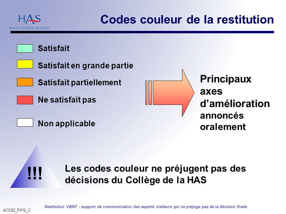 ACC02_F012_C Restitution V2007 : support de communication des experts visiteurs qui ne préjuge pas de la décision finale Codes couleur de la restituti