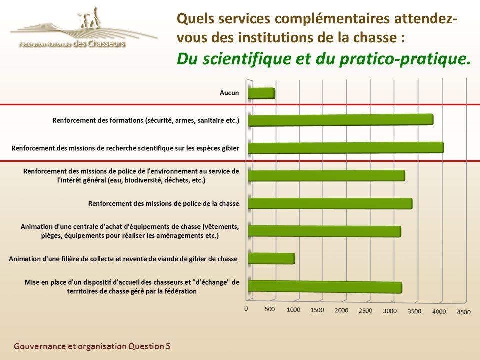 Gouvernance et organisation Question 5 Quels services complémentaires attendez- vous des institutions de la chasse : Du scientifique et du pratico-pratique.
