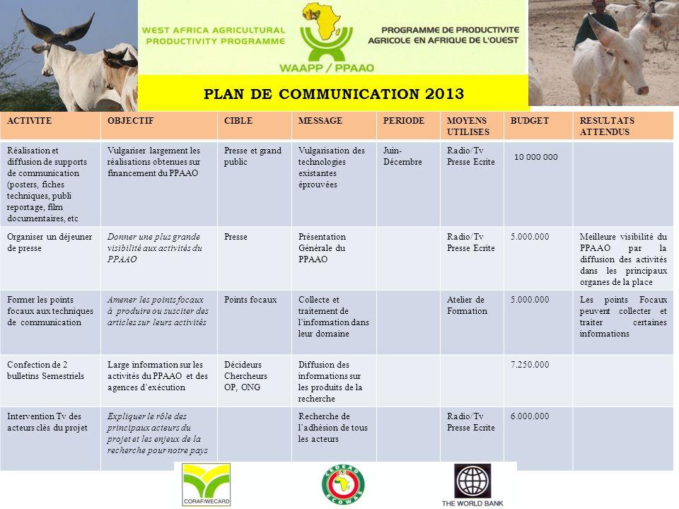 PLAN DE COMMUNICATION 2013 ACTIVITEOBJECTIFCIBLEMESSAGEPERIODEMOYENS UTILISES BUDGETRESULTATS ATTENDUS Réalisation et diffusion de supports de communi